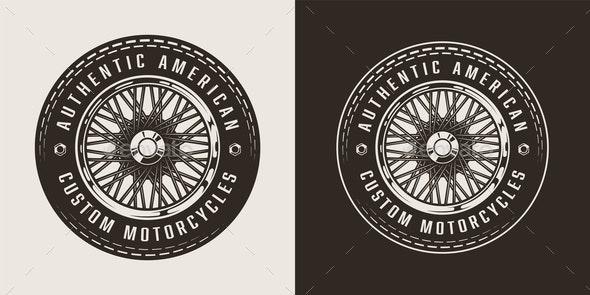 Vintage Custom Motorcycle Emblem - Miscellaneous Vectors