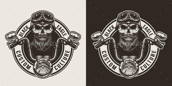 Vintage Monochrome Motorcycle Label - Miscellaneous Vectors