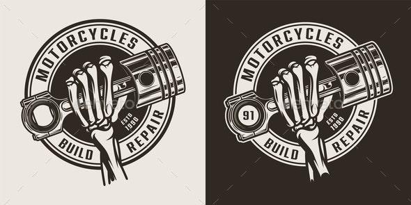 Vintage Motorcycle Workshop Logo - Miscellaneous Vectors