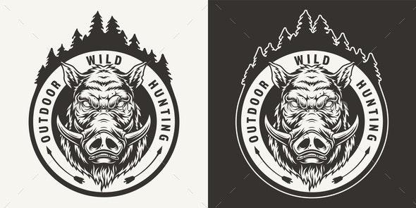 Vintage Monochrome Boar Hunting Emblem - Miscellaneous Vectors