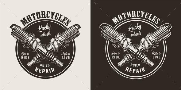 Vintage Motorcycle Repair Shop - Miscellaneous Vectors