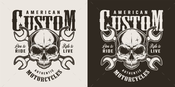 Vintage Custom Motorcycle Print - Miscellaneous Vectors