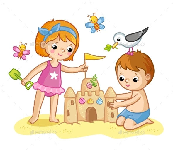 Girl and a Boy Are Building a Castle From the Sand - Landscapes Nature