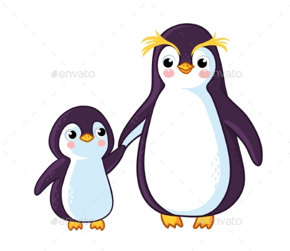 Penguins Hold Hands - Animals Characters