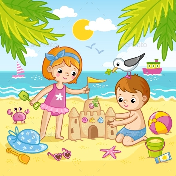Boy and a Girl Building a Castle From the Sand - People Characters