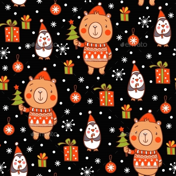 Cartoon Vector New Year Texture - Christmas Seasons/Holidays