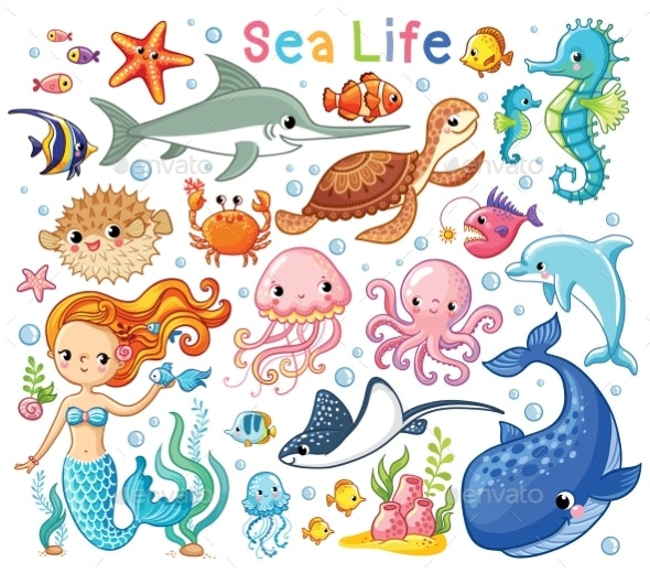 Vector Set with Sea Animals and a Mermaid - Animals Characters