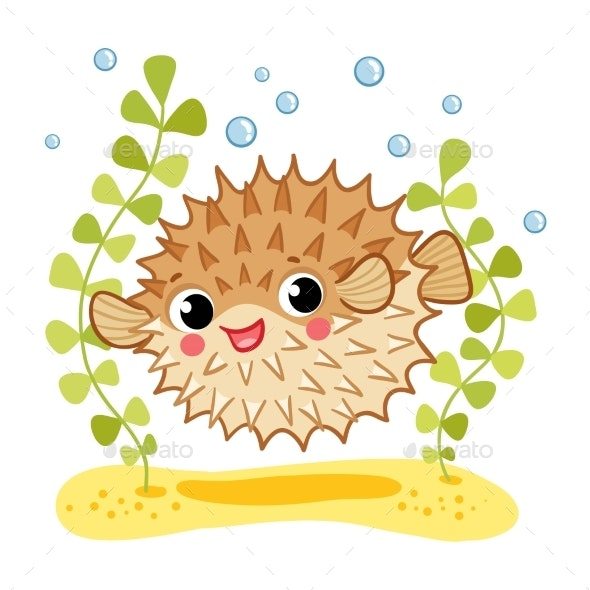 Blowfish Isolated on White Background - Animals Characters