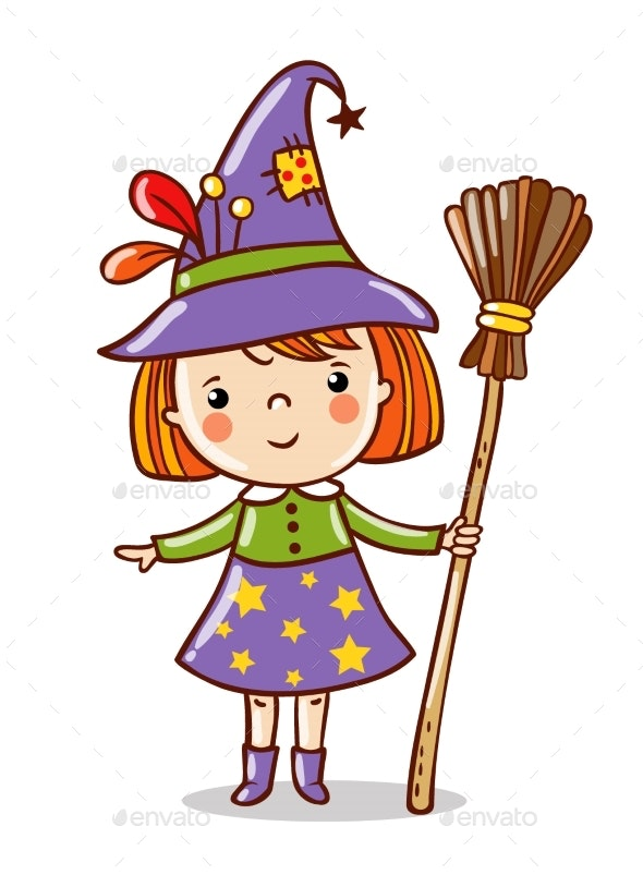 Witch Stands on a White Background - Halloween Seasons/Holidays