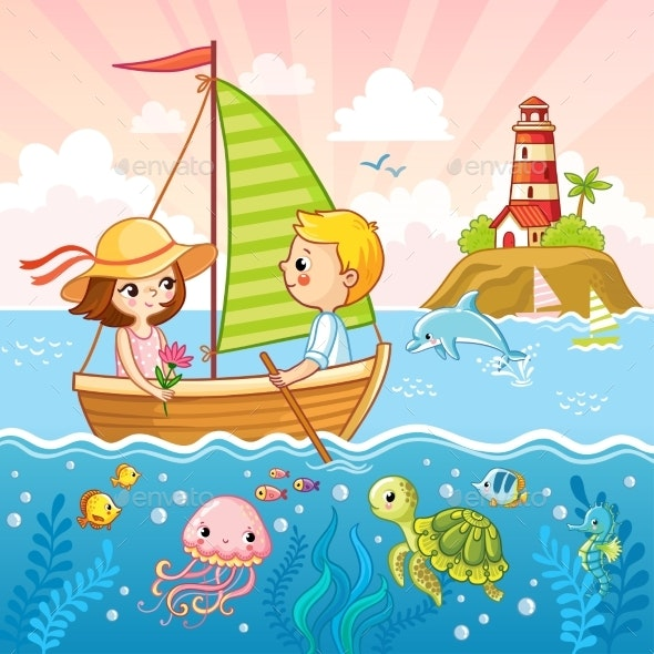 Boy and a Girl Are Sailing on a Sailboat - Animals Characters