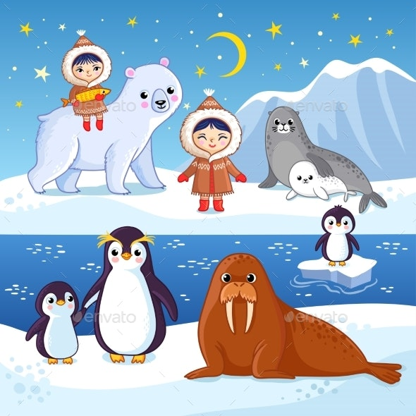 Northern Animals on Ice - Animals Characters