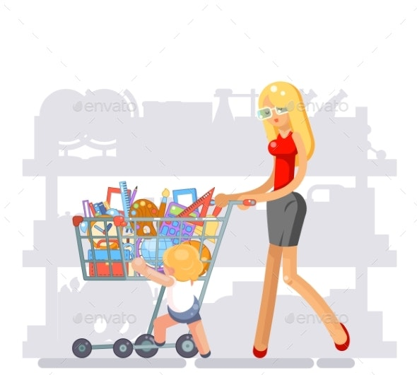 Mother Parent Shopping Equipment for Kid School - Miscellaneous Vectors