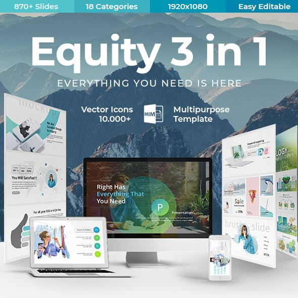 Equity 3 in 1 - Creative & Modern Google Slide Template Bundle