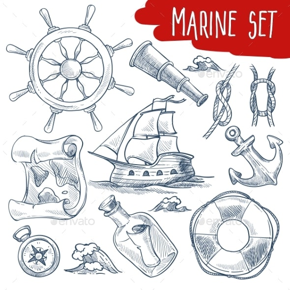 Marine Set Sailing and Ship Voyage Objects - Man-made Objects Objects