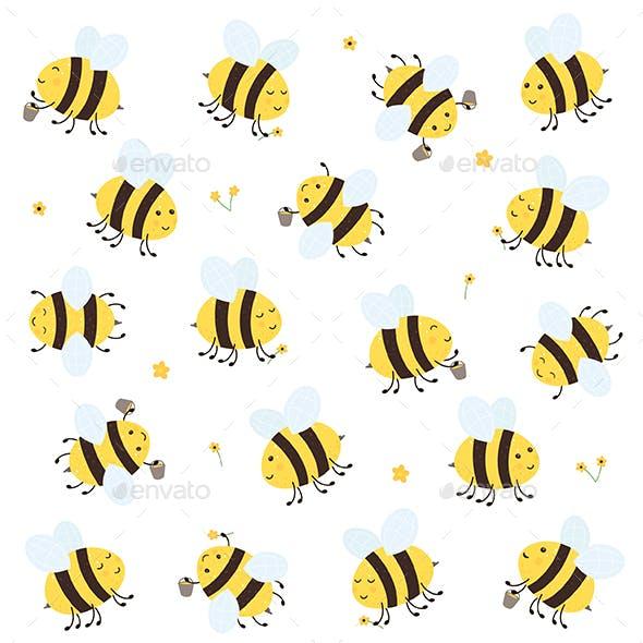 Set of Happy Bees
