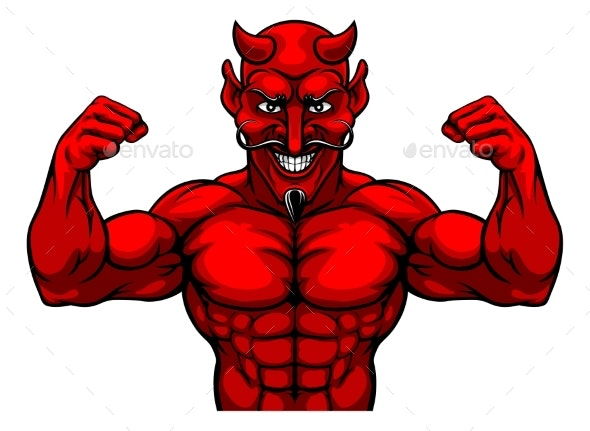 Devil Sports Mascot Cartoon Character - Sports/Activity Conceptual