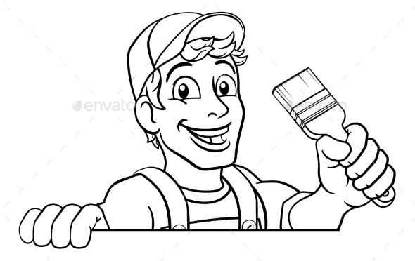 Painter Decorator Paintbrush Handyman Cartoon - People Characters