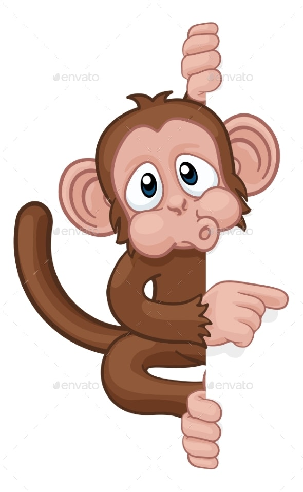 Monkey Cartoon Character Animal Pointing At Sign - Animals Characters