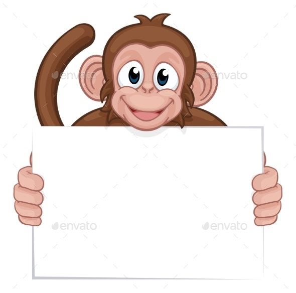 Monkey Cartoon Character Animal Holding Sign - Animals Characters
