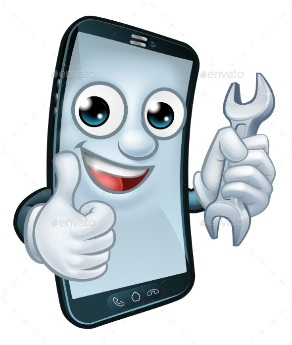 Mobile Phone Repair Spanner Thumbs Up Mascot - Miscellaneous Characters