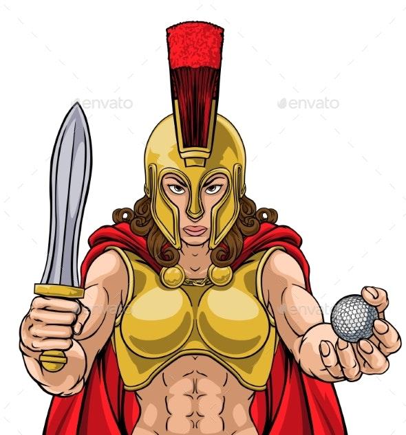 Spartan Trojan Gladiator Golf Warrior Woman - People Characters