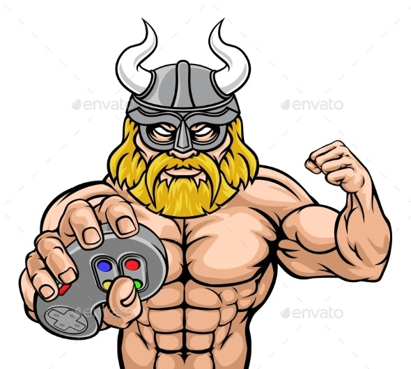 Viking Gamer Gladiator Warrior Controller Mascot - People Characters