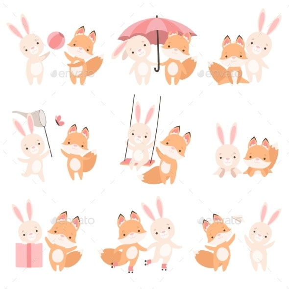 White Little Bunny and Fox Cub Playing - Animals Characters