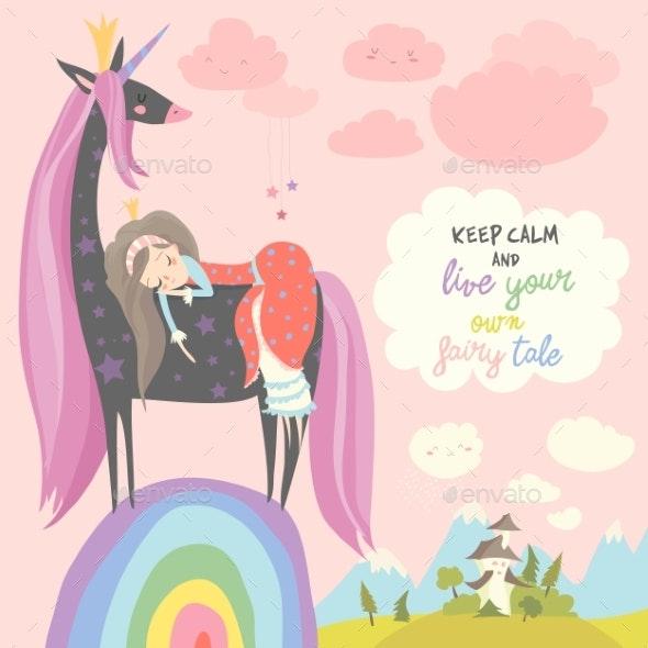 Cartoon Princess with Black Unicorn - Miscellaneous Vectors
