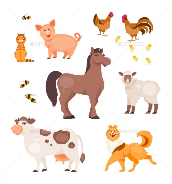Cartoon Pets Vector - Animals Characters