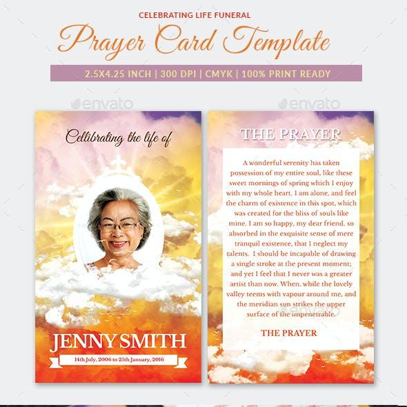 Celebrating Life Funeral Prayer Card Template