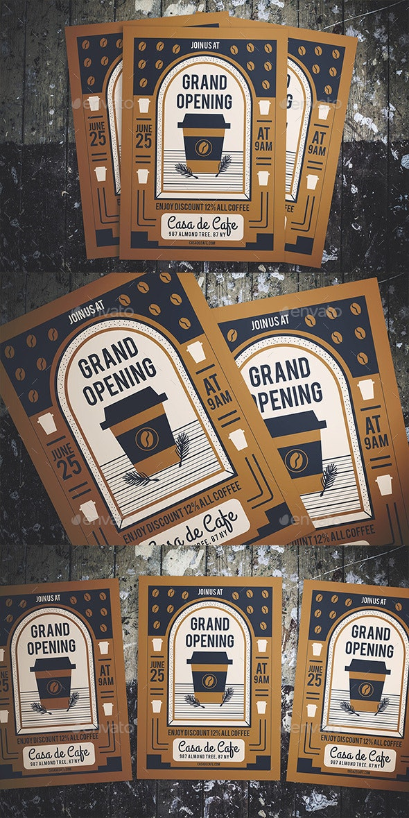 Cafe Grand Opening Flyer - Flyers Print Templates
