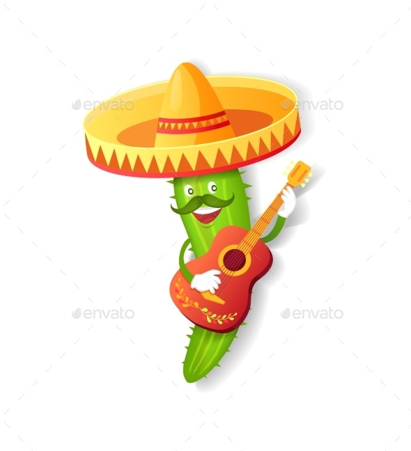 Mexican Cactus in Sombrero with Guitar - Miscellaneous Characters