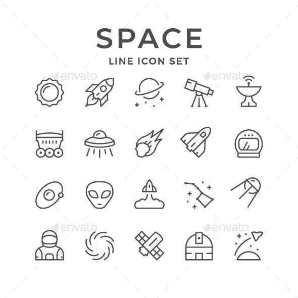 Set Line Icons of Space - Man-made objects Objects