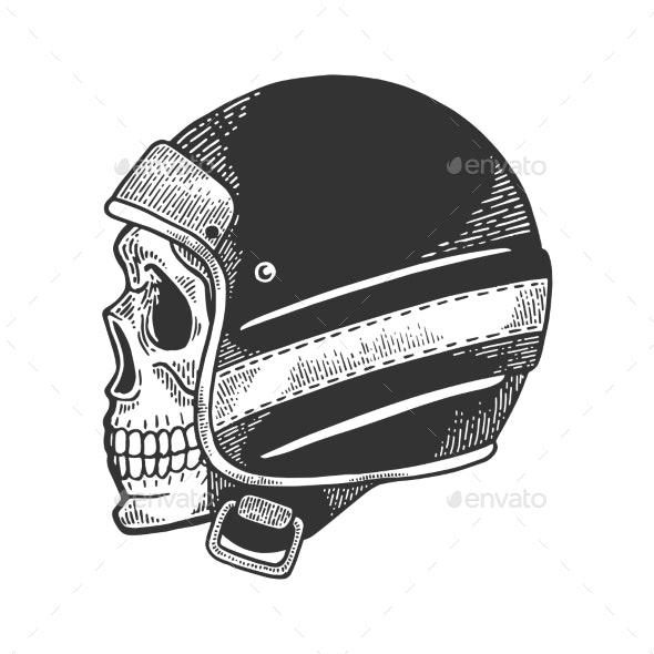 Skull in Motorcycle Helmet Sketch Engraving Vector - People Characters