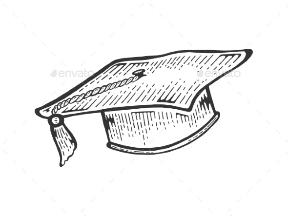 Square Academic Cap Sketch Engraving Vector - Man-made Objects Objects