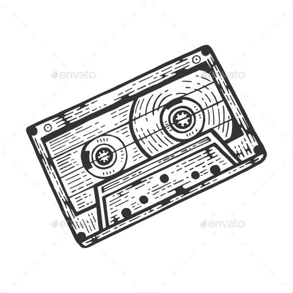 Cassette Tape Sketch Engraving Vector - Retro Technology