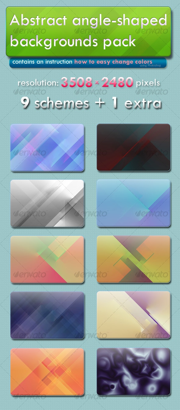 Abstract angle-shaped backgrounds pack - Backgrounds Graphics
