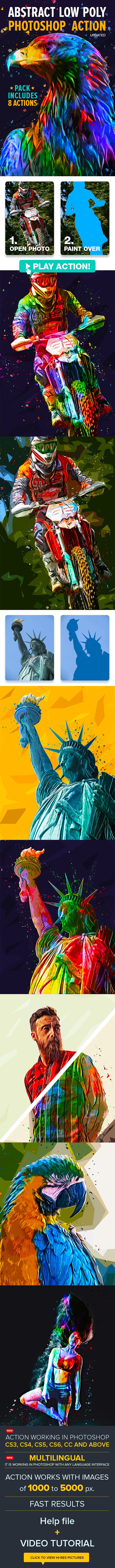 Abstract Low Poly Photoshop Action Pack - Photo Effects Actions
