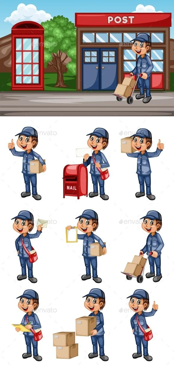 Postman Cartoon Character - People Characters