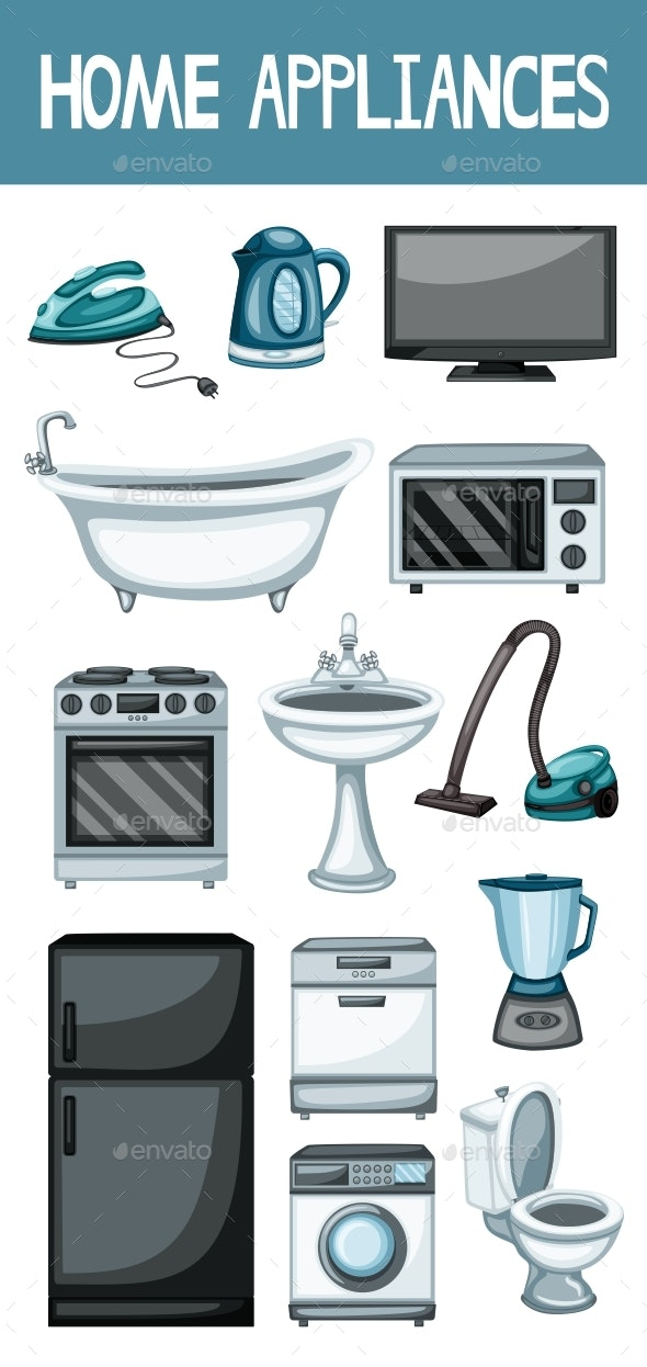 Home Appliances Set Vector Illustration - Man-made Objects Objects