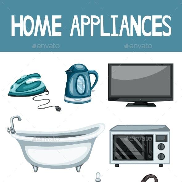 Home Appliances Set Vector Illustration