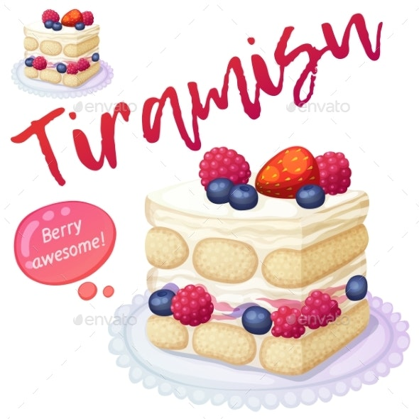 Triple Berry Tiramisu Dessert Icon Isolated - Food Objects