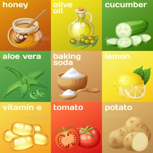 Facial Mask Ingredients for Home Face Skin Care - Food Objects