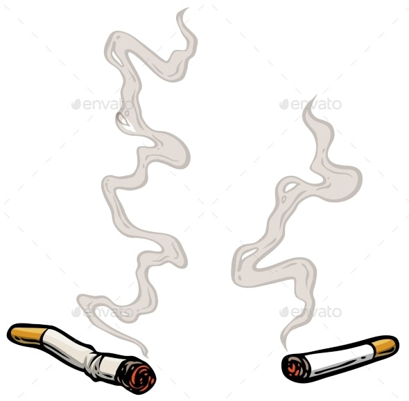 Cartoon Lit Cigarettes with Smoke - Man-made Objects Objects