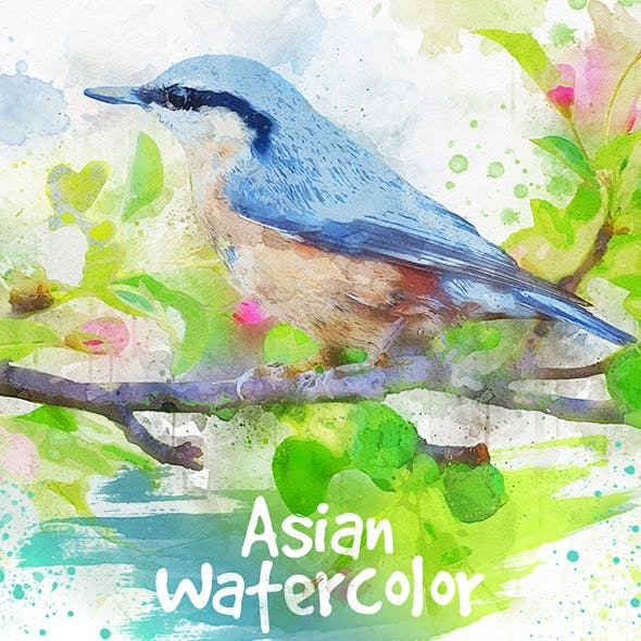 Asian Watercolor Photoshop Action