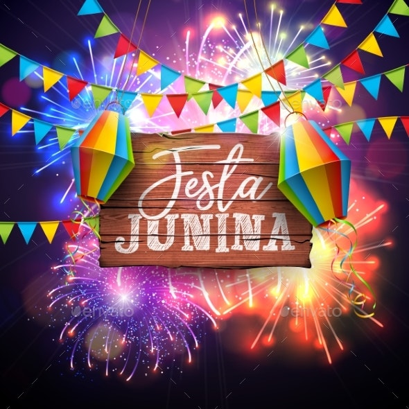 Festa Junina Illustration with Flags and Paper - Miscellaneous Seasons/Holidays