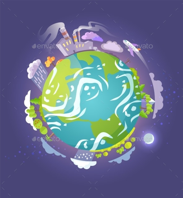 Earth Globe with Skyscrapers and Gas Emission - Miscellaneous Conceptual