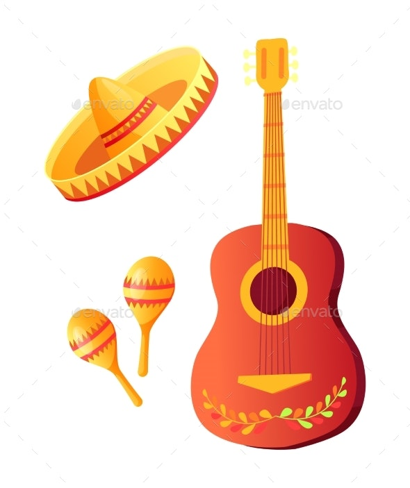 Cinco De Mayo Acoustic Guitar and Sombrero Hat - Miscellaneous Vectors