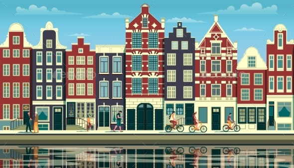 Street in Amsterdam with Traditional Buildings - Buildings Objects