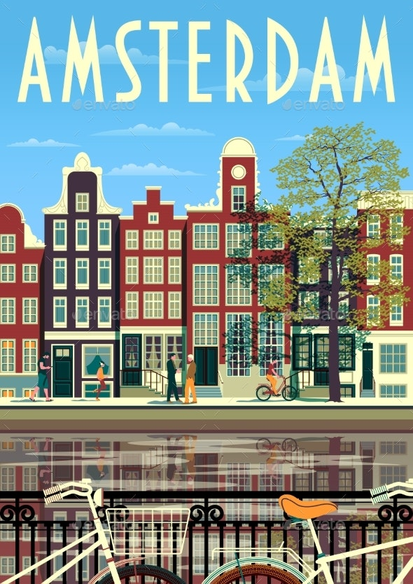 A Street in Amsterdam with Traditional Buildings - Buildings Objects
